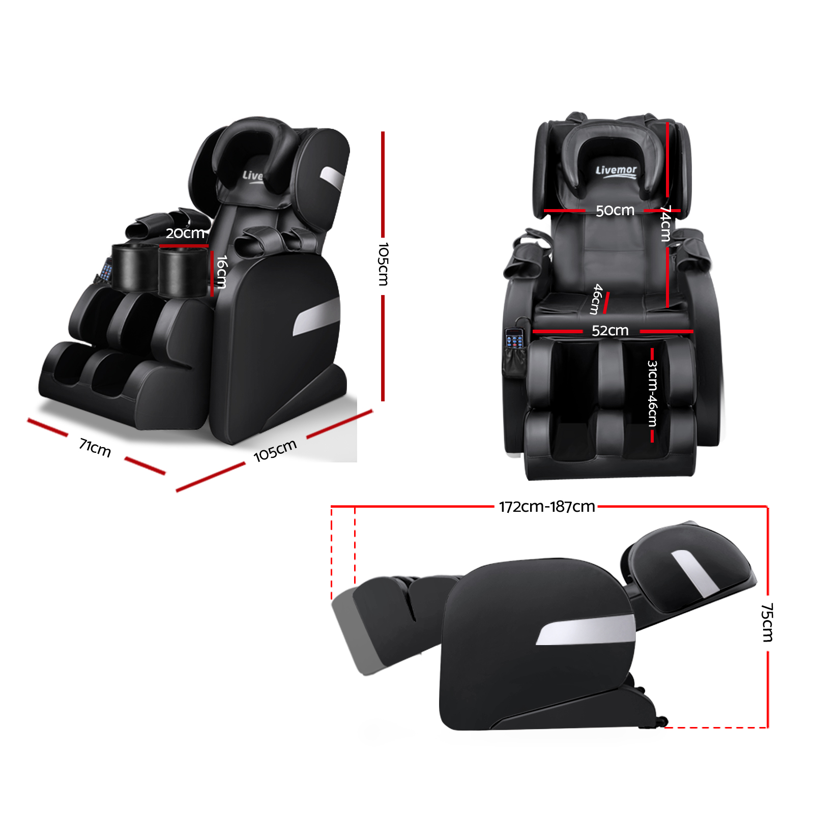 Brand New Livemor Electric Massage Chair – Black Fast Free Shipping
