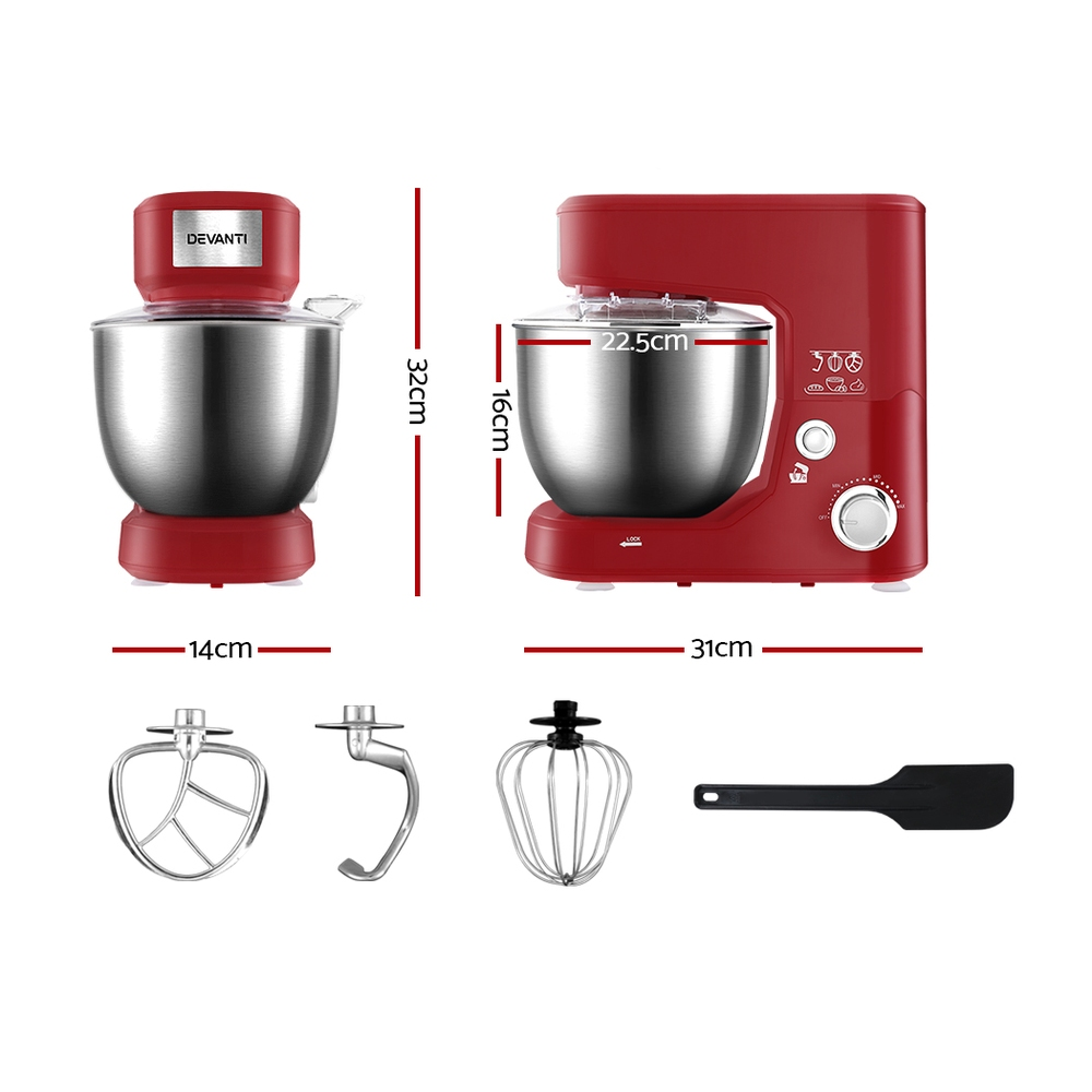 🥇 New Devanti Electric Stand Mixer 1200W Kitche Beater Cake Aid Whisk Bowl Hook Red ⭐+ Fast Free Shipping 🚀