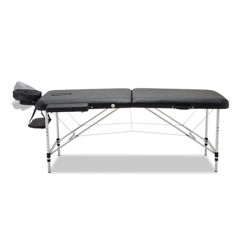 New Zenses 70cm Wide Portable Aluminium Massage Table Two Fold Treatment Beauty Therapy Black + Fast Free Shipping