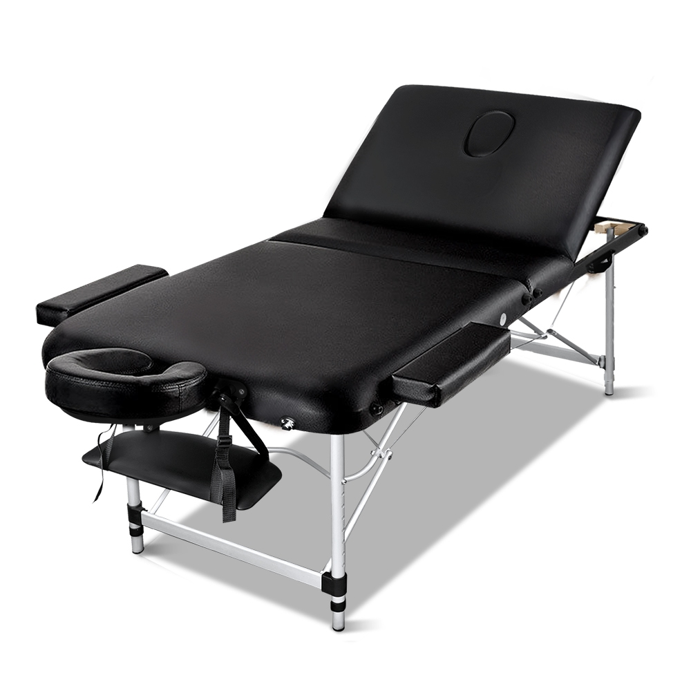 New Zenses 3 Fold Portable Aluminium Massage Table – Black + Fast Free Shipping
