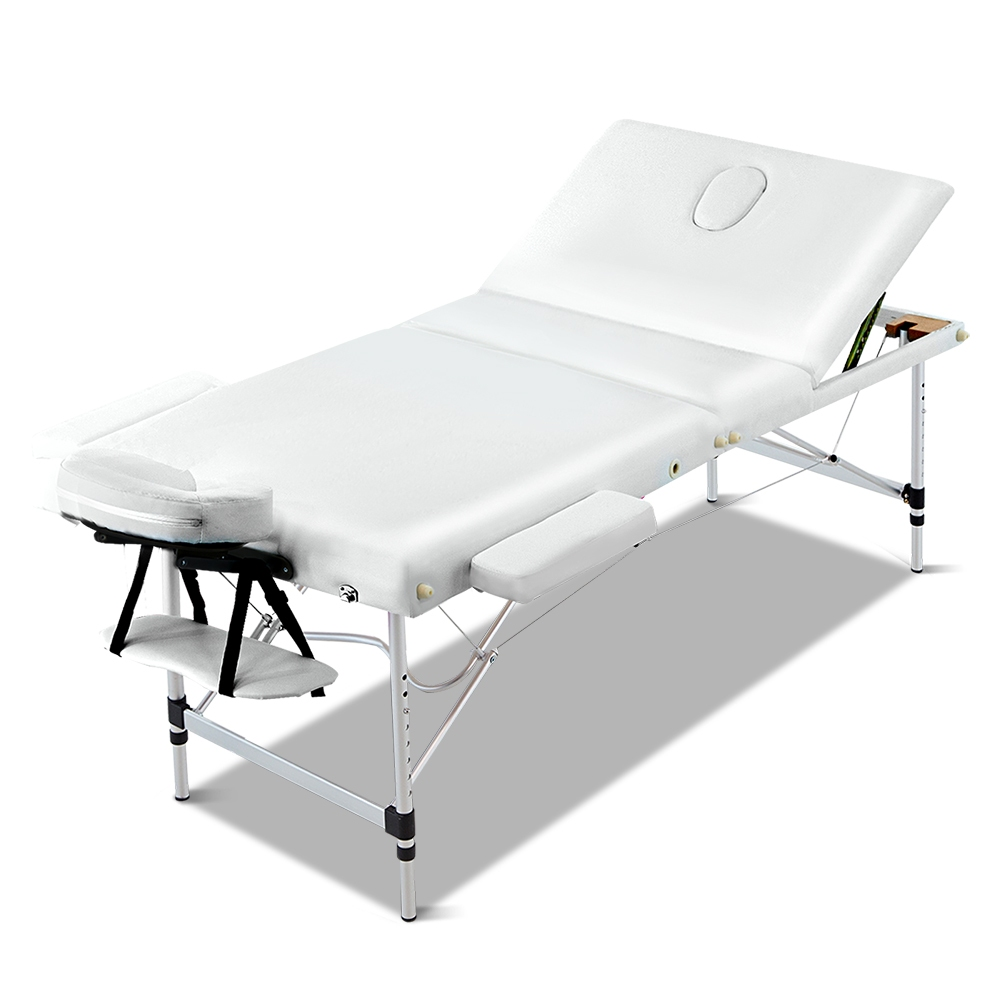 New Zenses 70cm Wide Portable Aluminium Massage Table 3 Fold Treatment Beauty Therapy White + Fast Free Shipping