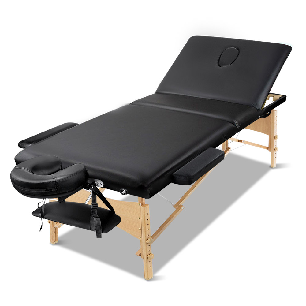 🥇 New Zenses 3 Fold Portable Wood Massage Table – Black ⭐+ Fast Free Shipping 🚀