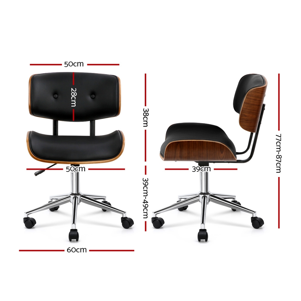 🥇 New Artiss Wooden & PU Leather Office Desk Chair – Black ⭐+ Fast Free Shipping 🚀
