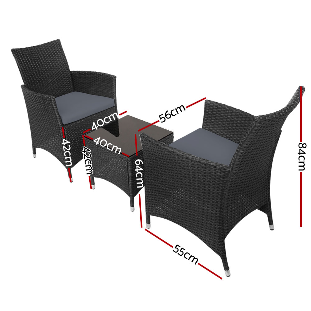 New Gardeon 3pc Rattan Bistro Wicker Outdoor Furniture Set Black + Fast Free Shipping