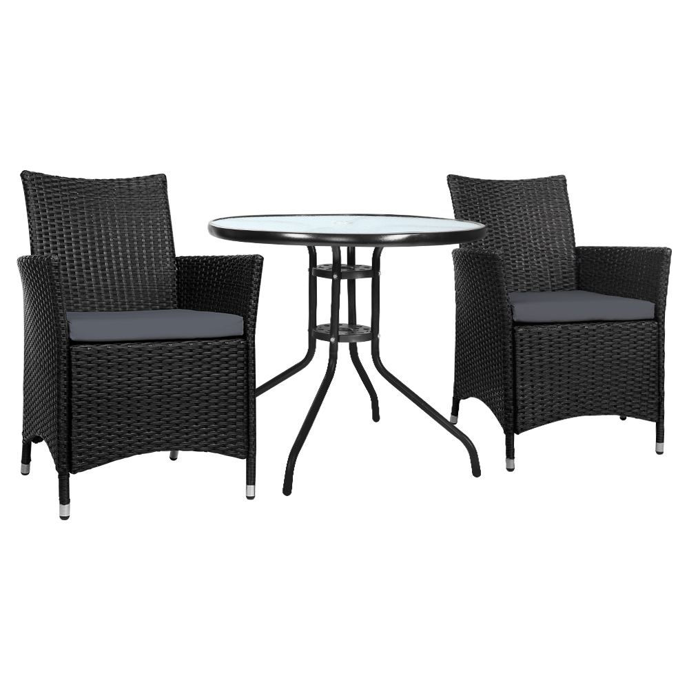 🥇 New Gardeon Outdoor Furniture Dining Chair Table Bistro Set Wicker Patio Setting Tea Coffee Cafe Bar Set ⭐+ Fast Free Shipping 🚀