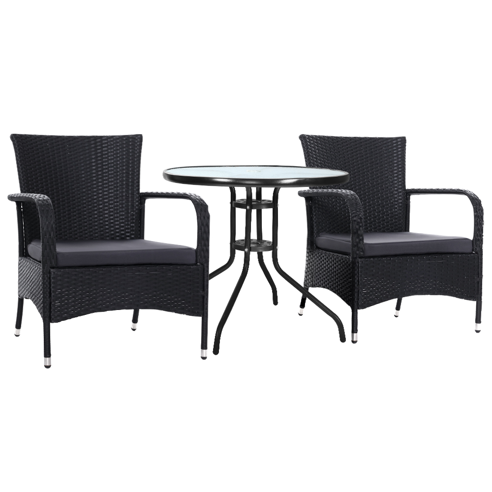 🥇 New Gardeon Outdoor Dining Chairs Bistro Patio Furniture Chair Wicker Garden Extra Large Tea Coffee Cafe Bar Set ⭐+ Fast Free Shipping 🚀