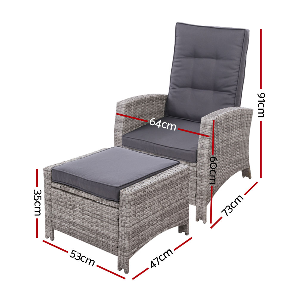 Sun lounge Recliner Chair Wicker Lounger Sofa Day Bed Outdoor Furniture Patio Garden Cushion Ottoman Grey Gardeon