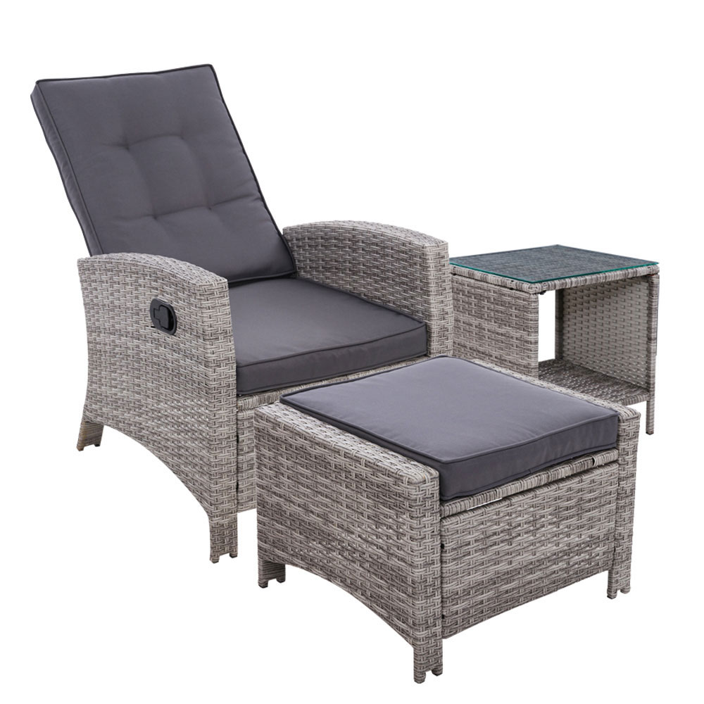 Gardeon Outdoor Setting Recliner Chair Table Set Wicker lounge Patio Furniture Grey