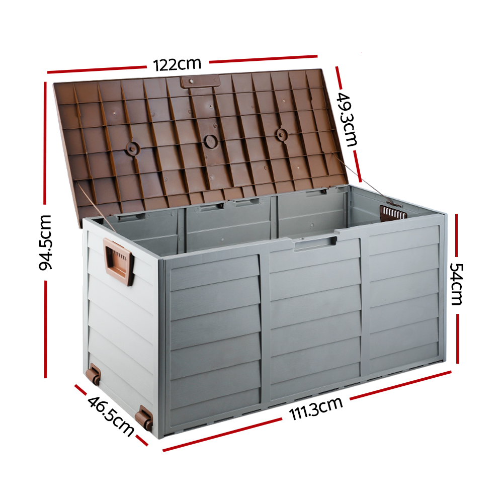 New Giantz 290L Outdoor Storage Box – Brown + Fast Free Shipping
