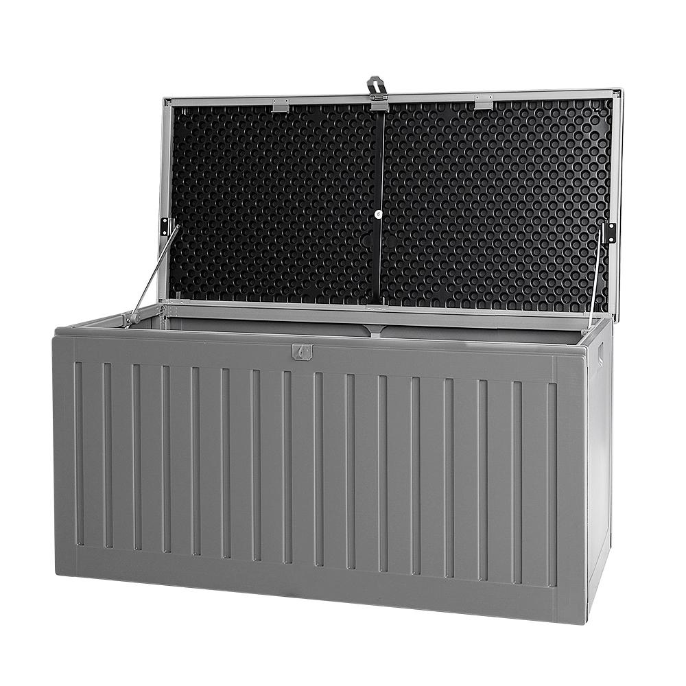 Gardeon Outdoor Storage Box Container Garden Toy Indoor Tool Chest Sheds 270L Dark Grey