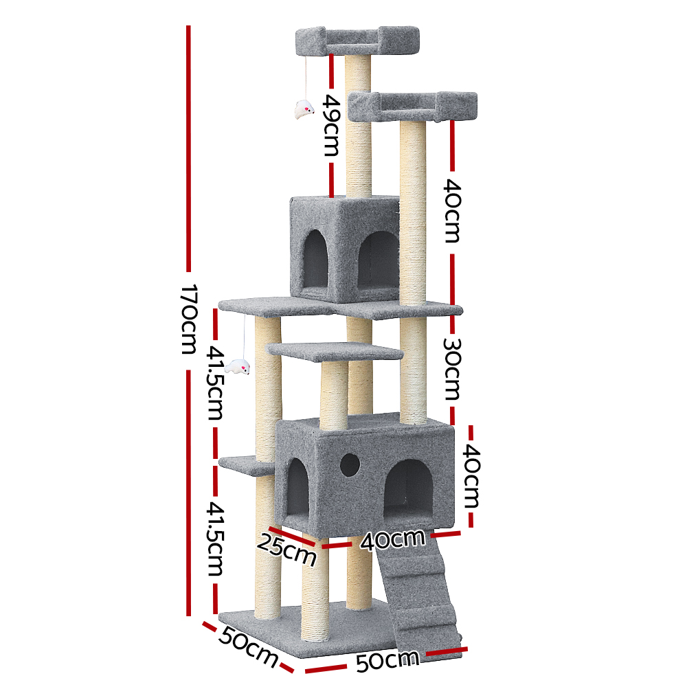 🥇 New i.Pet 7 Level Cat Scratching Post – Grey ⭐+ Fast Free Shipping 🚀