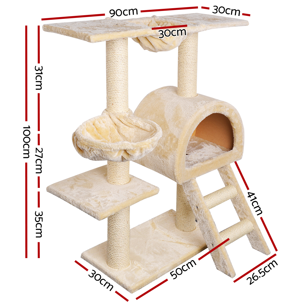 🥇 New i.Pet 100cm Multi Level Cat Scratching Post – Beige ⭐+ Fast Free Shipping 🚀
