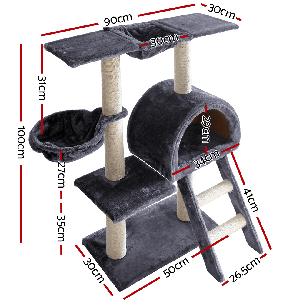 🥇 New i.Pet 100cm Multi Level Cat Scratching Post – Grey ⭐+ Fast Free Shipping 🚀