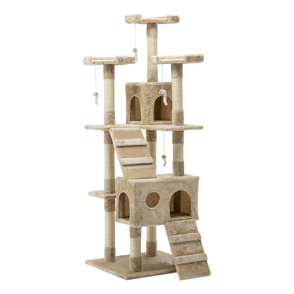 🥇 New i.Pet 180cm Multi Level Cat Scratching Post – Beige ⭐+ Fast Free Shipping 🚀