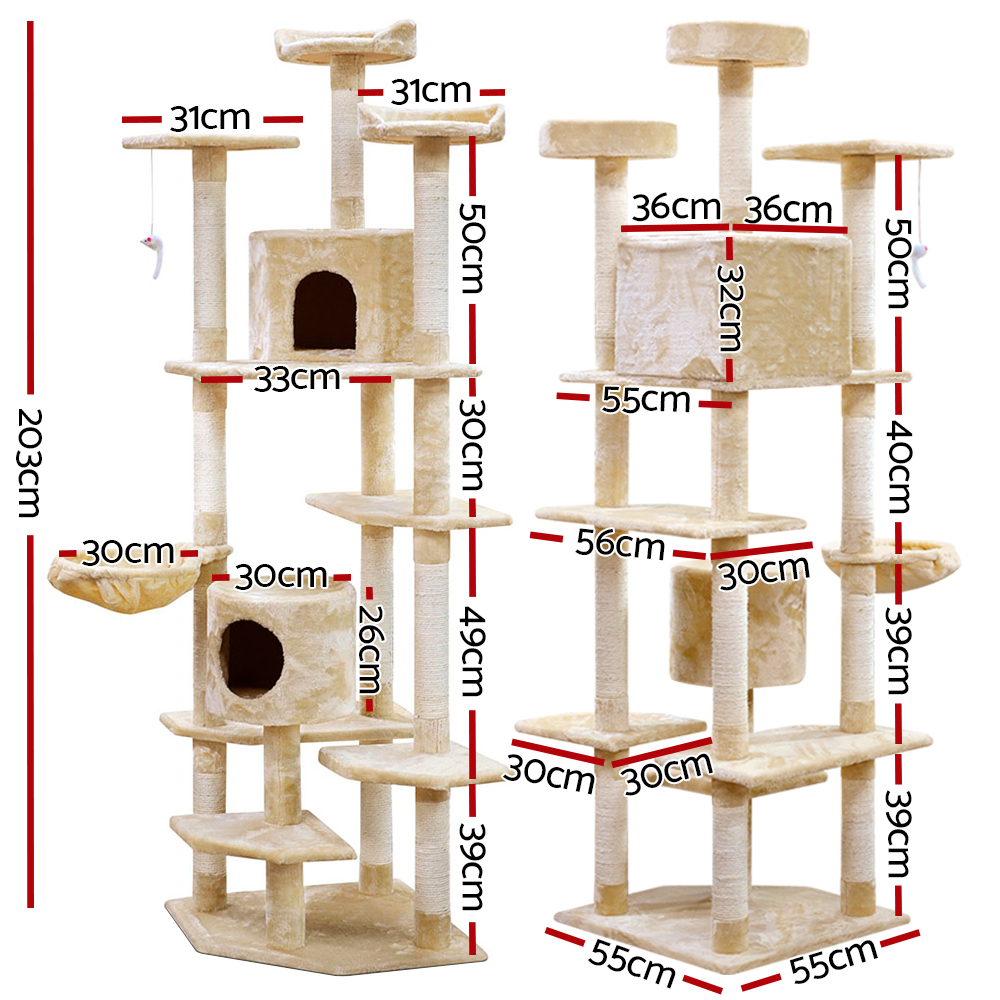 🥇 New i.Pet 203cm Cat Scratching Post – Beige ⭐+ Fast Free Shipping 🚀