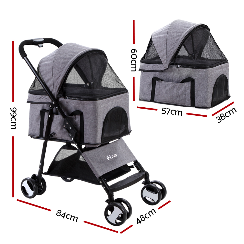 🥇 New i.Pet Pet Stroller Dog Carrier Foldable Pram 3 IN 1 Middle Size Grey ⭐+ Fast Free Shipping 🚀