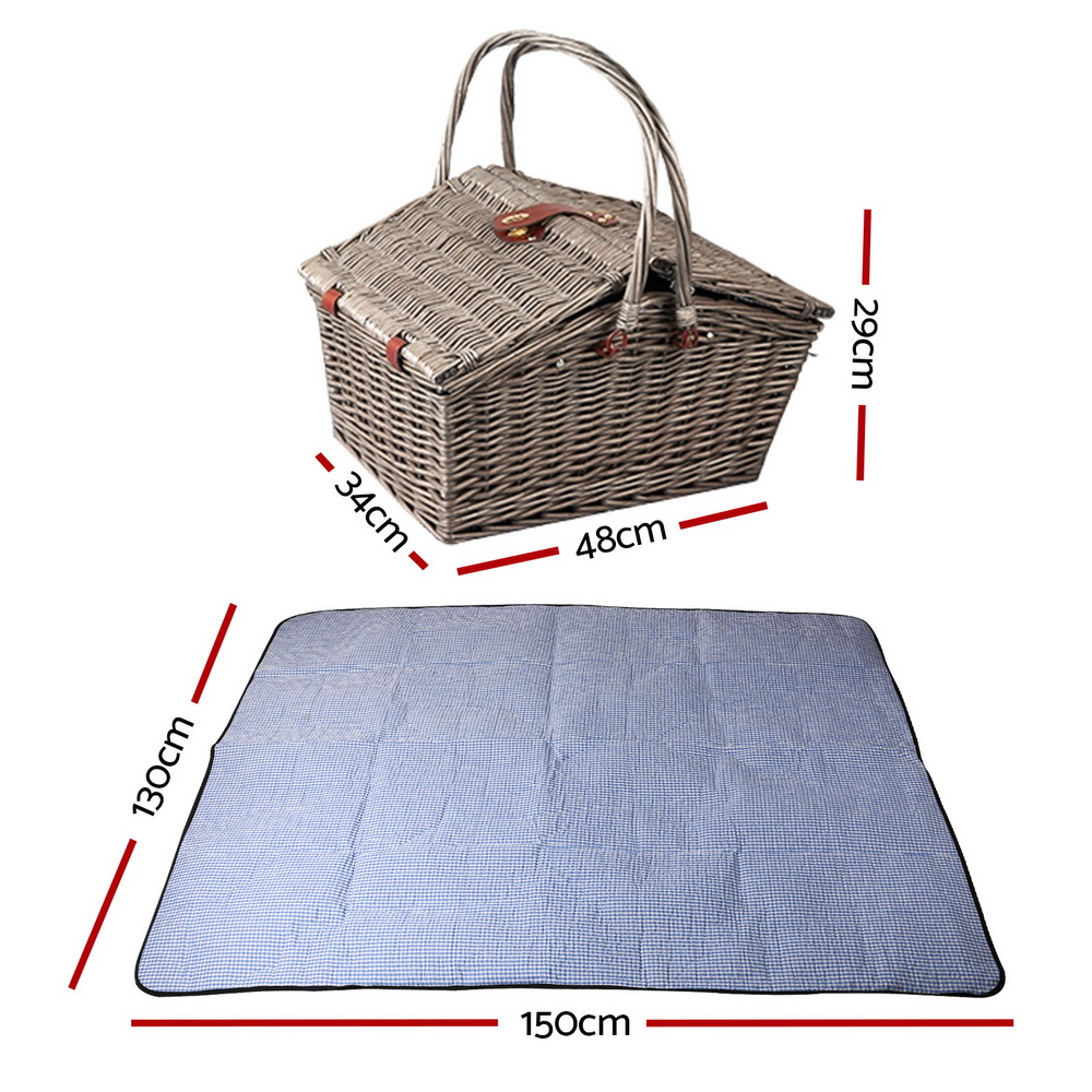 🥇 New Alfresco Deluxe 4 Person Picnic Basket Baskets Outdoor Insulated Blanket ⭐+ Fast Free Shipping 🚀