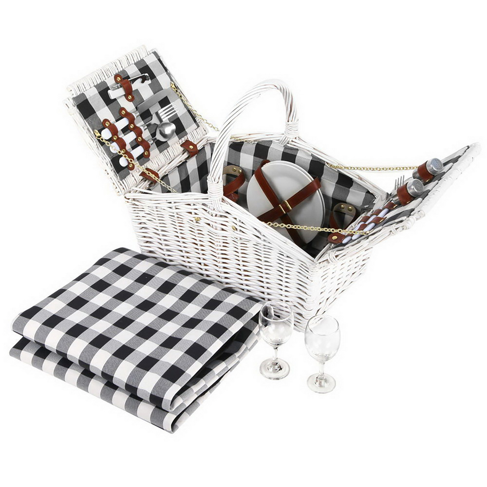 [Brand New] Alfresco 2 Person Picnic Basket Baskets White Deluxe Outdoor Corporate Blanket Park Fast Free Shipping Australia Wide 2020