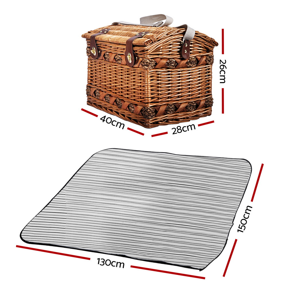 [Brand New] Alfresco 4 Person Picnic Basket Baskets Deluxe Outdoor Corporate Blanket Park Fast Free Shipping Australia Wide 2020