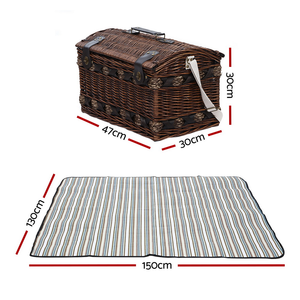 🥇 New Alfresco 4 Person Wicker Picnic Basket Baskets Outdoor Insulated Gift Blanket ⭐+ Fast Free Shipping 🚀