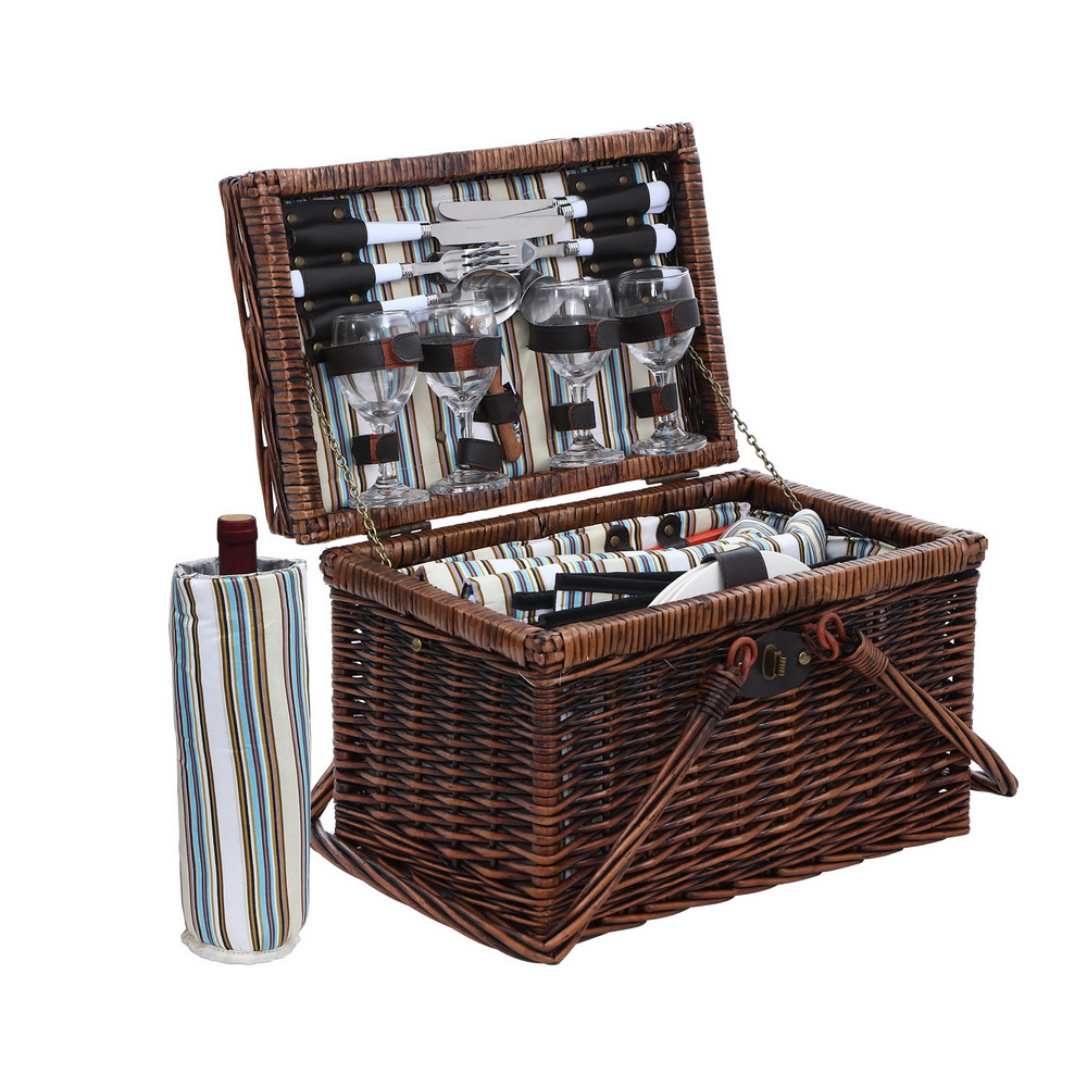 🥇 New Alfresco Deluxe 4 Person Picnic Basket Set Folding Outdoor Insulated Liquor bag ⭐+ Fast Free Shipping 🚀