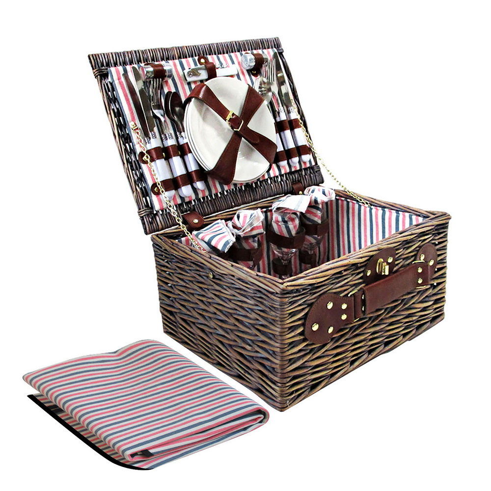 Brand New Alfresco 4 Person Picnic Basket Baskets Deluxe Outdoor Corporate Gift Blanket Fast Free Shipping