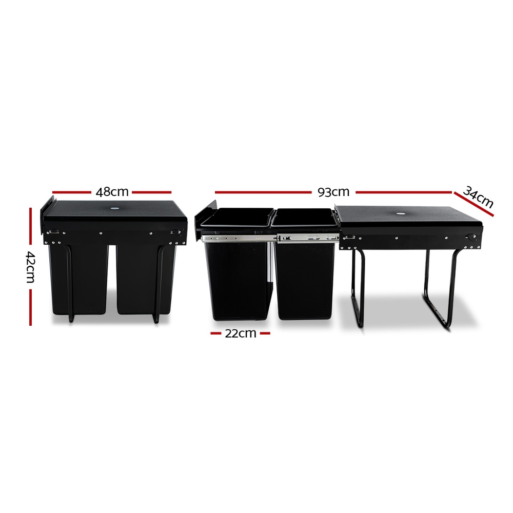 🥇 New Cefito 2x20L Pull Out Bin – Black ⭐+ Fast Free Shipping 🚀