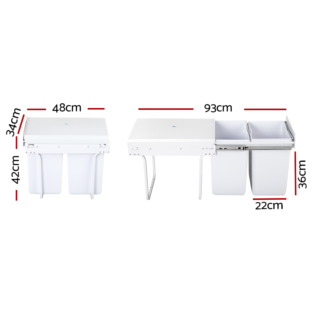 🥇 New Cefito 2x20L Pull Out Bin – White ⭐+ Fast Free Shipping 🚀