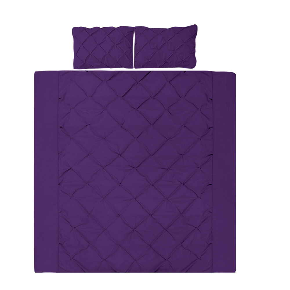 Giselle Luxury Classic Bed Duvet Doona Quilt Cover Set Hotel Queen Purple