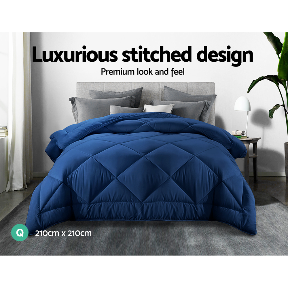 🥇 New Giselle Bamboo Microfibre Microfiber Quilt Queen 700GSM Doona All Season Blue ⭐+ Fast Free Shipping 🚀