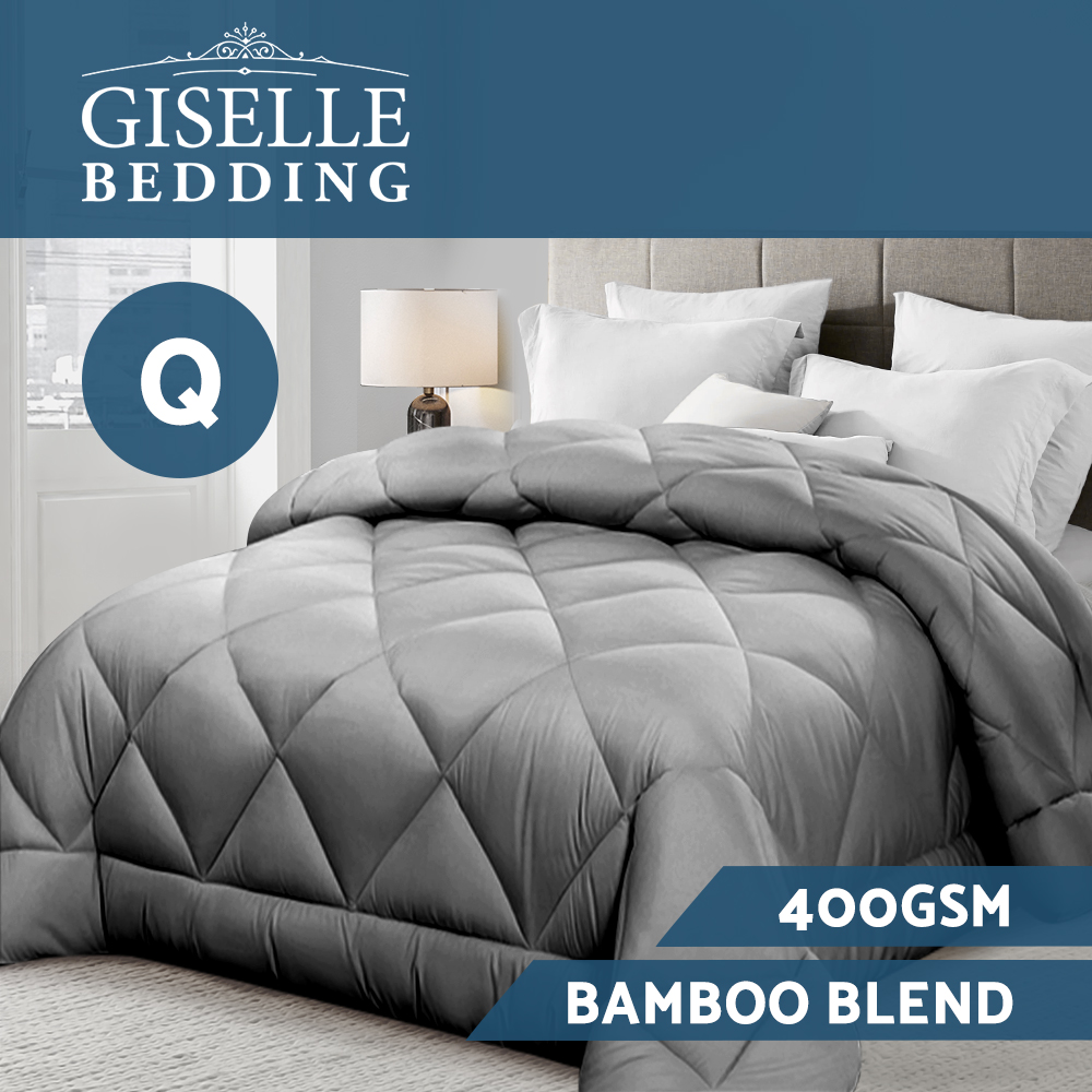 🥇 New Giselle Bamboo Microfibre Microfiber Quilt Queen 400GSM Duvet All Season Grey ⭐+ Fast Free Shipping 🚀