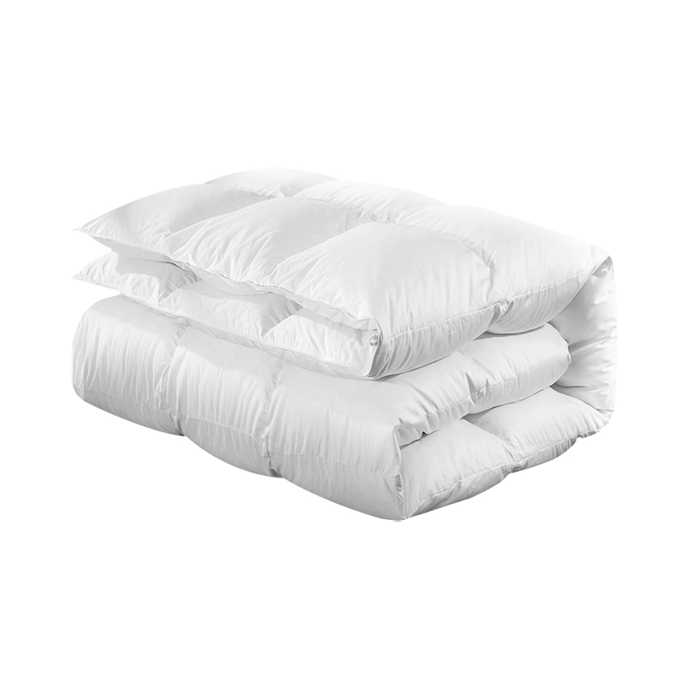 King Single Size Goose Down Quilt - White