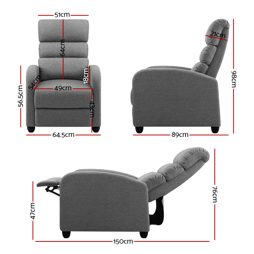 🥇 New Artiss Luxury Recliner Chair Chairs Lounge Armchair Sofa Fabric Cover Grey ⭐+ Fast Free Shipping 🚀