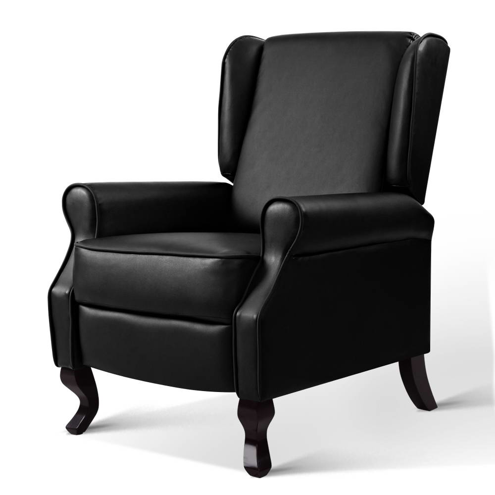 Artiss Recliner Chair Luxury Lounge Armchair Single Sofa Couch PU Leather Black