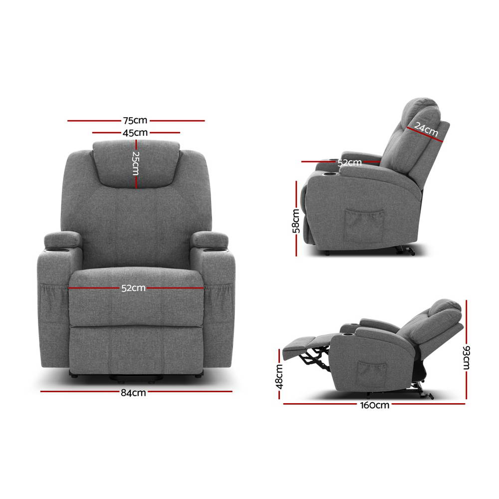 🥇 New Artiss Electric Massage Chair Recliner Sofa Lift Motor Armchair Heating Fabric ⭐+ Fast Free Shipping 🚀