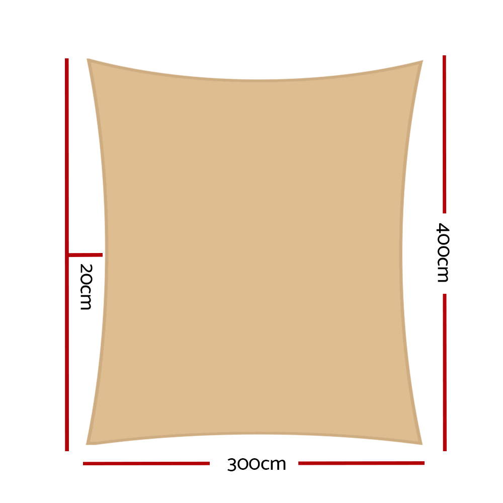 Brand New Instahut 3x4m Shade Sail Sun Shadecloth Canopy 280gsm Sand Fast Free Shipping