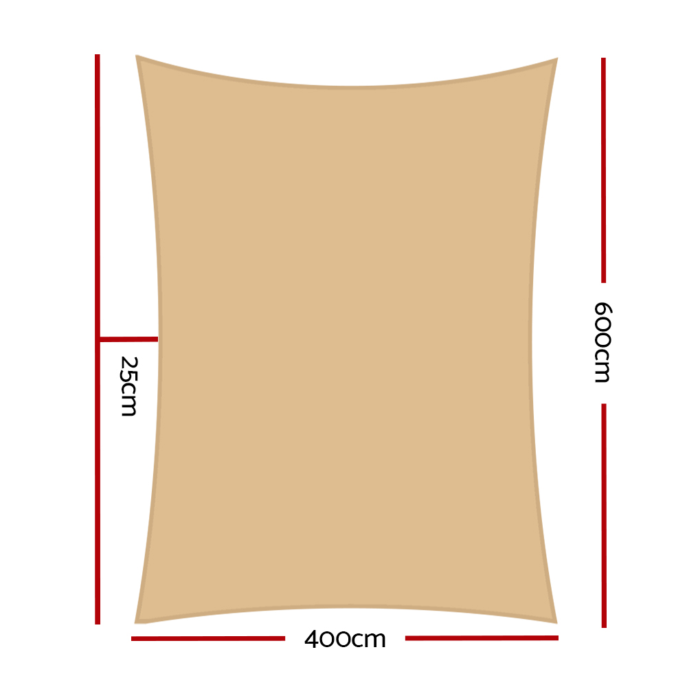 🥇 New Instahut 4x6m Shade Sail Sun Shadecloth Canopy 280gsm Sand ⭐+ Fast Free Shipping 🚀