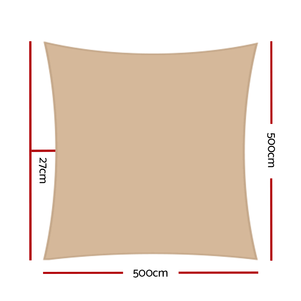 Brand New Instahut 5x5m 280gsm Shade Sail Sun Shadecloth Canopy Square Fast Free Shipping