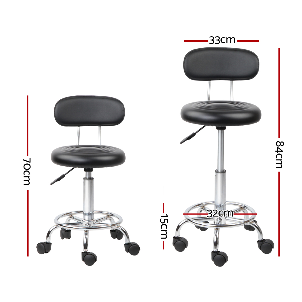 Artiss PU Leather Swivel Chair with Backrest - Black