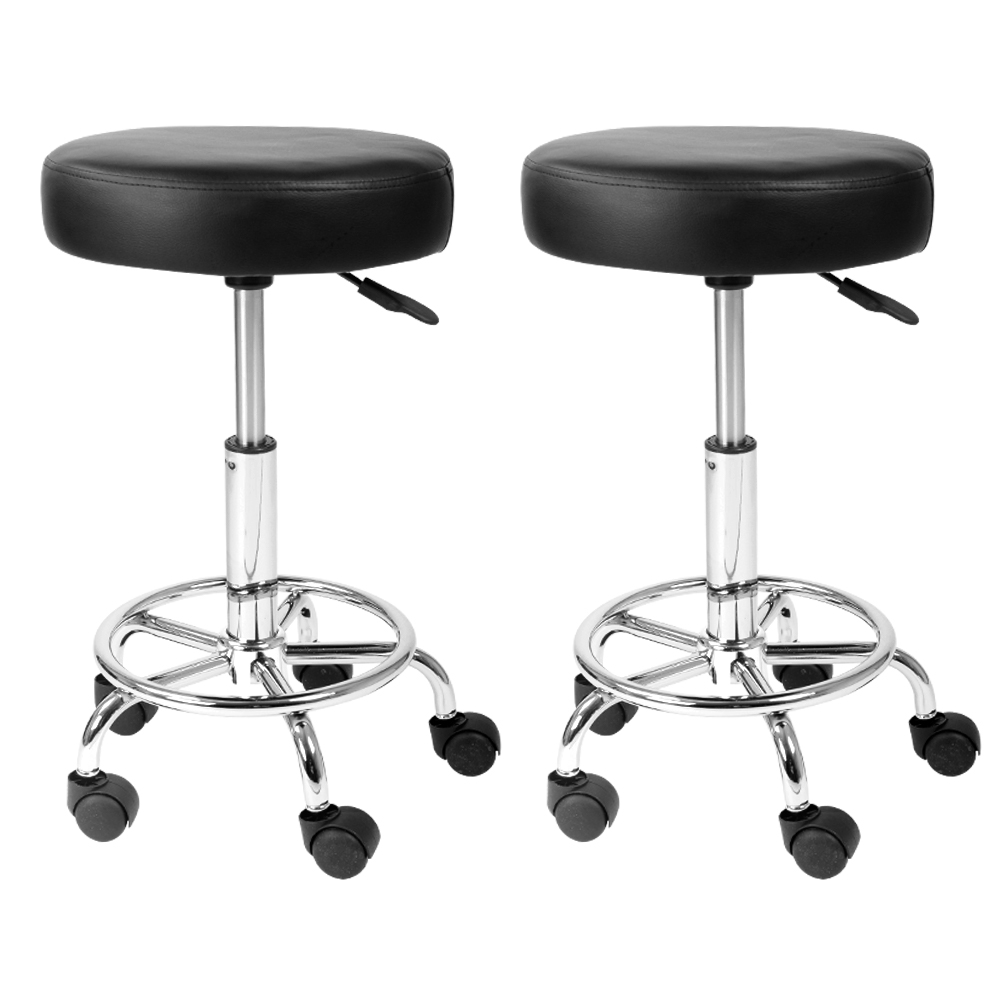 Artiss Set of 2 ROUND Salon Stool Black PU Leather Swivel Barber Hair Dress Chair Hydraulic Lift
