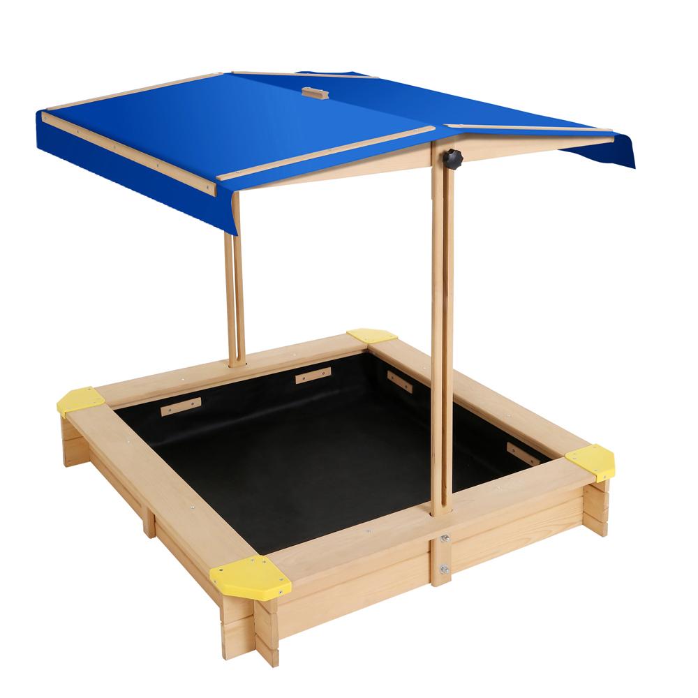 Keezi Wooden Outdoor Sand Box Set Sand Pit- Natural Wood