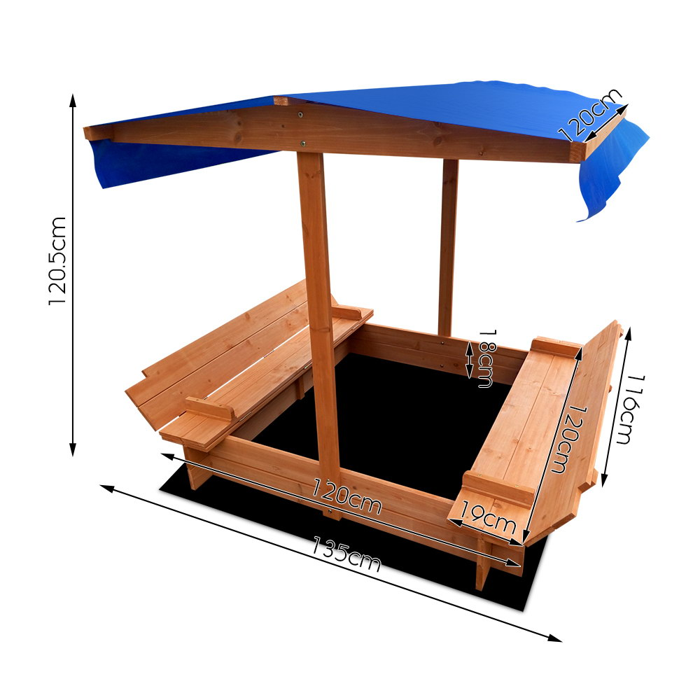 Brand New Keezi Wooden Outdoor Sand Box Set Sand Pit- Natural Wood Fast Free Shipping