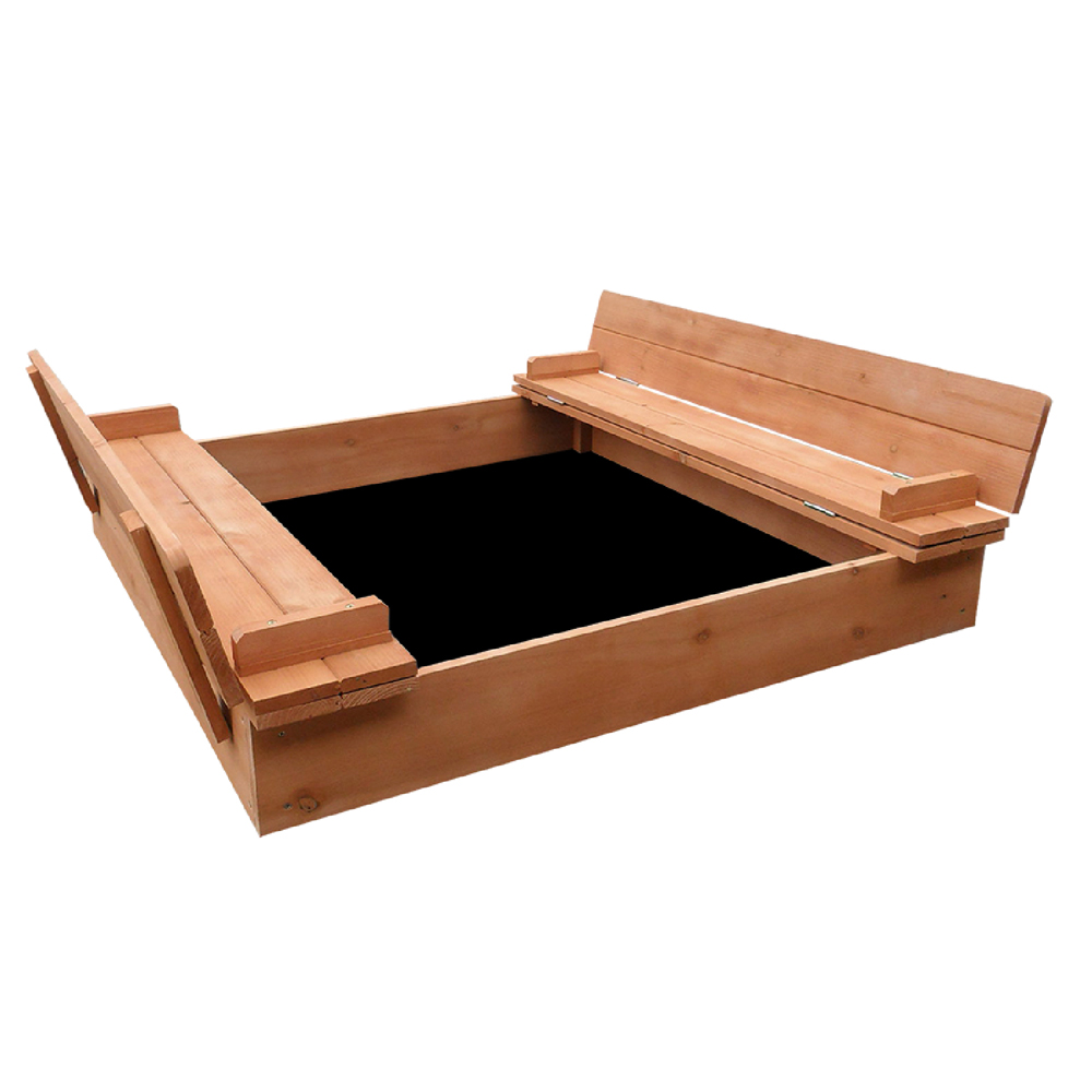 Keezi Wooden Outdoor Sandpit Set - Natural Wood