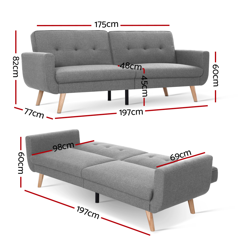 🥇 New Artiss Sofa Bed Lounge Set Couch Futon 3 Seater Fabric Reliner 197cm Grey ⭐+ Fast Free Shipping 🚀