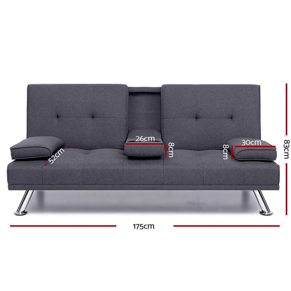 🥇 New Artiss Linen Fabric 3 Seater Sofa Bed Recliner Lounge Couch Cup Holder Futon Dark Grey ⭐+ Fast Free Shipping 🚀