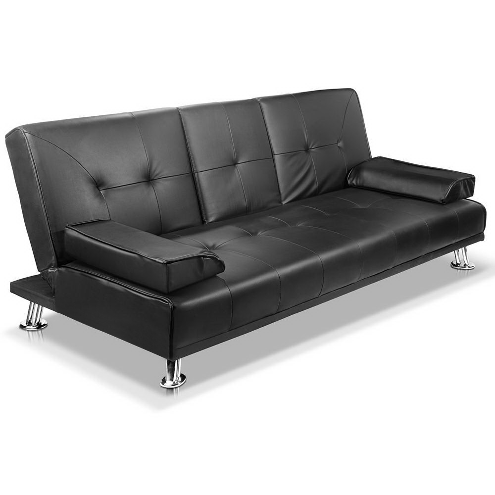 New Artiss 3 Seater PU Leather Sofa Bed – Black + Fast Free Shipping
