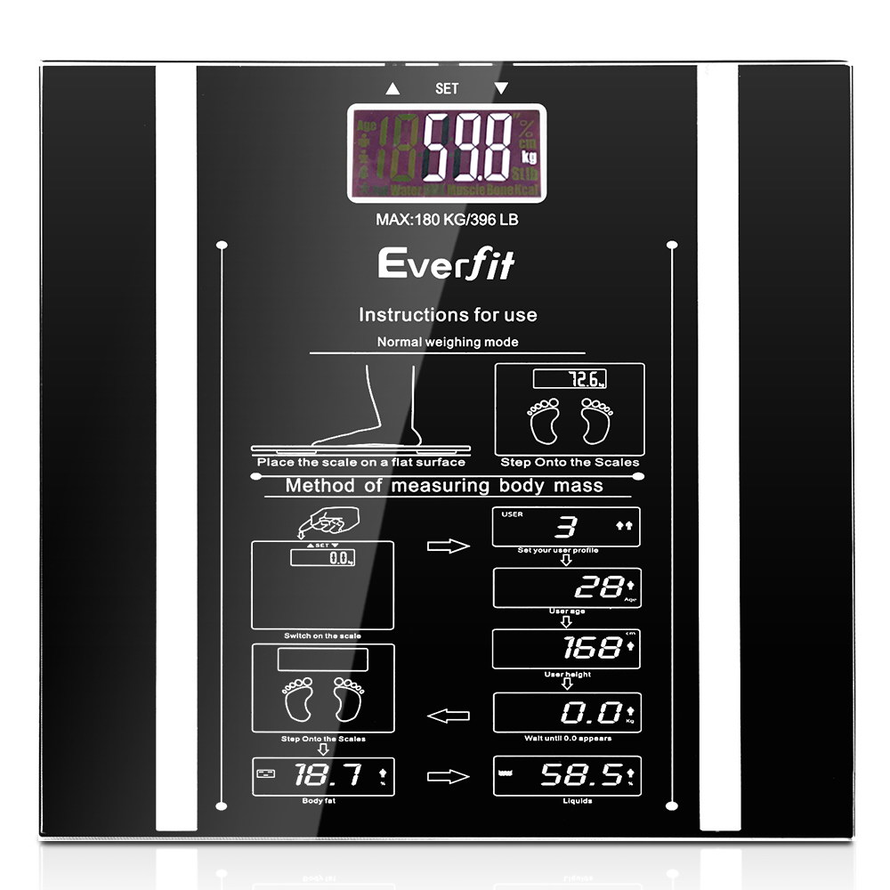 🥇 New Everfit Electronic Digital Body Fat Scale – Black ⭐+ Fast Free Shipping 🚀