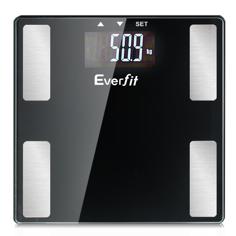 🥇 New Everfit Electronic Digital Body Fat Scale Bathroom Weight Scale-Black ⭐+ Fast Free Shipping 🚀