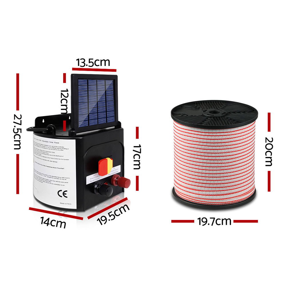 New Giantz 3km Solar Electric Fence Energiser Charger with 400M Tape and 25pcs Insulators + Fast Free Shipping