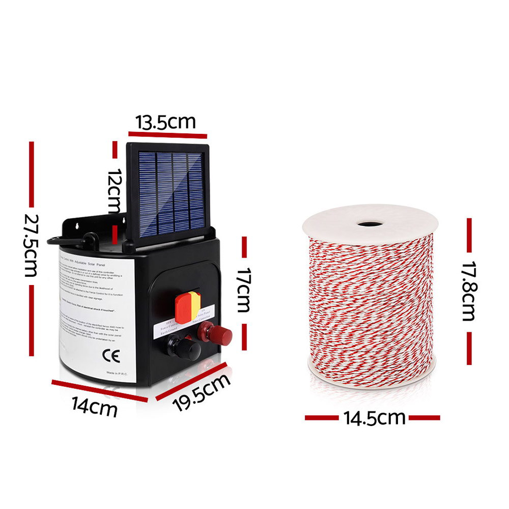 New Giantz 3km Solar Electric Fence Energiser Charger with 500M Tape and 25pcs Insulators + Fast Free Shipping